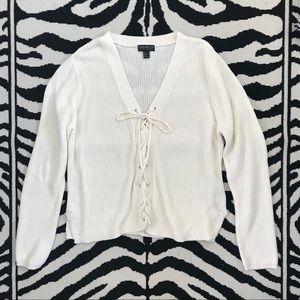 F21 Cream Cable Knit Lace-up Front Sweater Sz3X